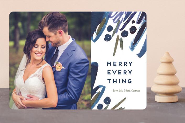 """""""Abstract Merry"""" - Bohemian Holiday Photo Cards in Navy by Simona Cavallaro."""