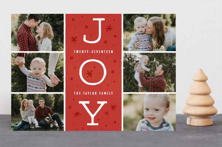 """Season of Joy"" - Vintage Holiday Photo Cards in Cranberry by Michelle Taylor."