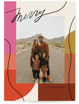 This is a colorful holiday photo card by Meg Gleason called Rainbow Line with standard printing on smooth signature in standard.