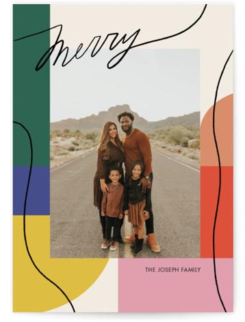Rainbow Line Holiday Photo Cards