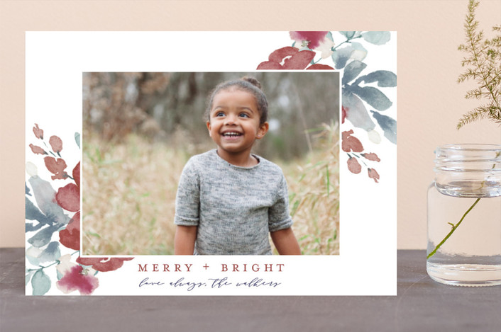 """Sweeping Blooms"" - Holiday Photo Cards in Mulberry by Grace Kreinbrink."