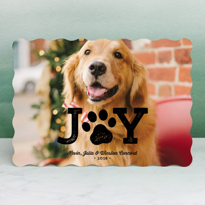 """Paw Print"" - Holiday Photo Cards in Goldenrod by Lea Delaveris."