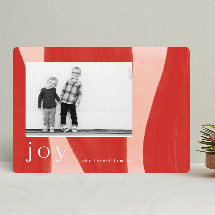 """Joyful Waves"" - Modern Holiday Photo Cards in Blush by Nazia Hyder."
