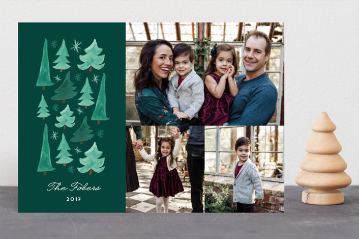 """Watercolor Stack"" - Holiday Photo Cards in Pine by Erika Firm."