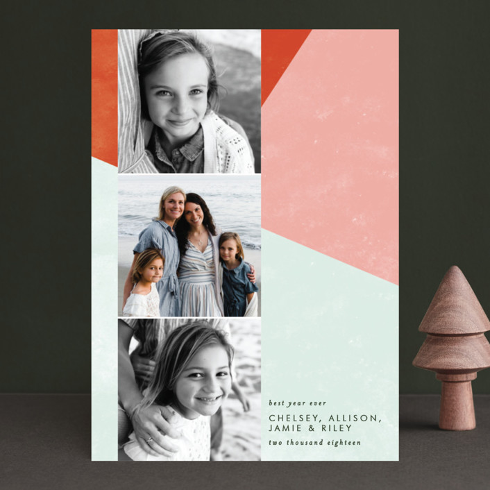 """Bold Blocks of Color"" - Modern Holiday Photo Cards in Persimmon by Ella Weaver."