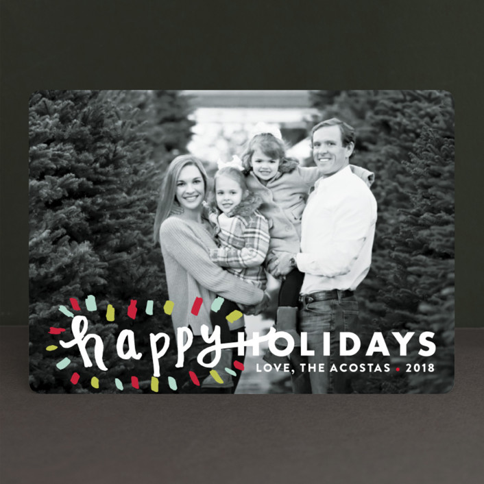 """Holiday Burst"" - Modern Holiday Photo Cards in Candied Orange by Abby Munn."