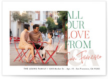 This is a colorful holiday photo card by Alethea and Ruth called All Our Love Location with standard printing on smooth signature in standard.