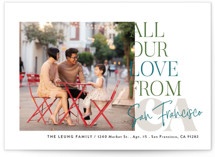 This is a blue holiday photo card by Alethea and Ruth called All Our Love Location with standard printing on smooth signature in standard.