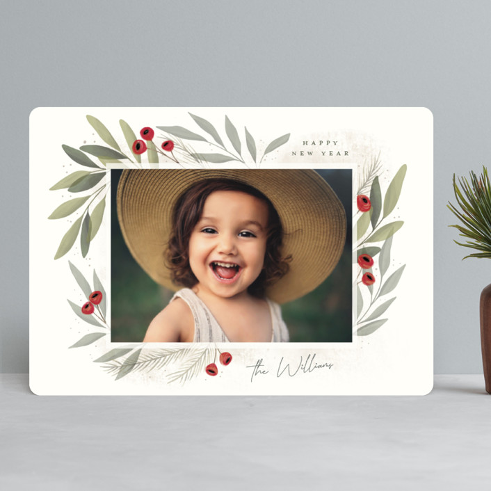 """""""Merry Botanical"""" - Holiday Photo Cards in Pearl by Cindy Reynolds."""