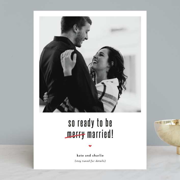 """""""Be Married"""" - Funny Holiday Photo Cards in Snow by Susan Brown."""