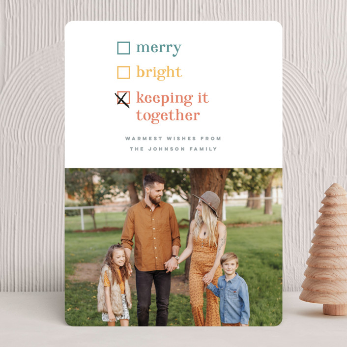 """Keeping it together"" - Funny Holiday Photo Cards in Cornucopia by Pink House Press."