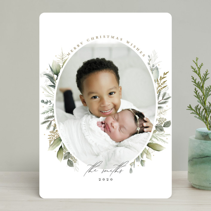 """Soft Greenery"" - Holiday Photo Cards in Sage by Susan Moyal."