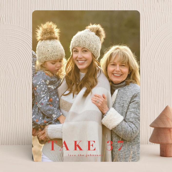 """""""take 37"""" - Funny Holiday Photo Cards in Holly by Kasia Labocki."""