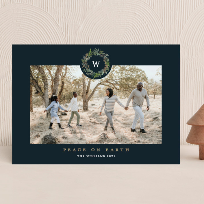 """Peace on Earth"" - Holiday Photo Cards in Navy by Susan Moyal."