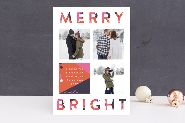 """Cheer"" - Modern Holiday Photo Cards in Rosy Cheeks by Nazia Hyder."