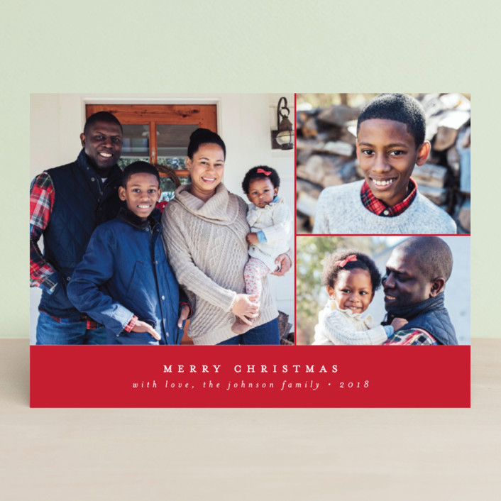 """Simple & Classic"" - Holiday Photo Cards in Stone by peony papeterie."
