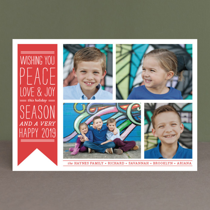 """Wish Banner"" - Vintage Holiday Photo Cards in Candy Cane Red by The Social Type."