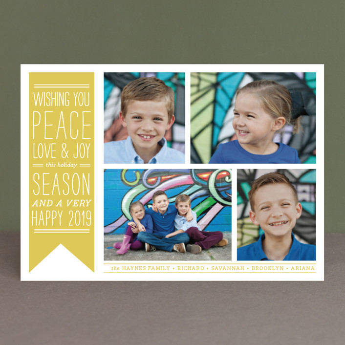 """Wish Banner"" - Vintage Holiday Photo Cards in Evergreen by The Social Type."