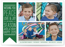 This is a green holiday photo card by The Social Type called Wish Banner with standard printing on smooth signature in standard.