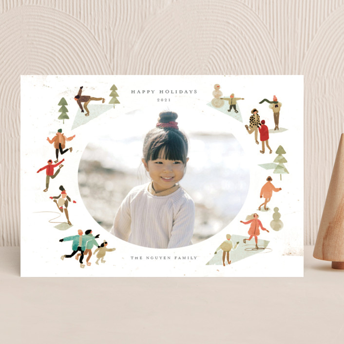 """""""Skate!"""" - Vintage Holiday Photo Cards in Forest by Morgan Ramberg."""