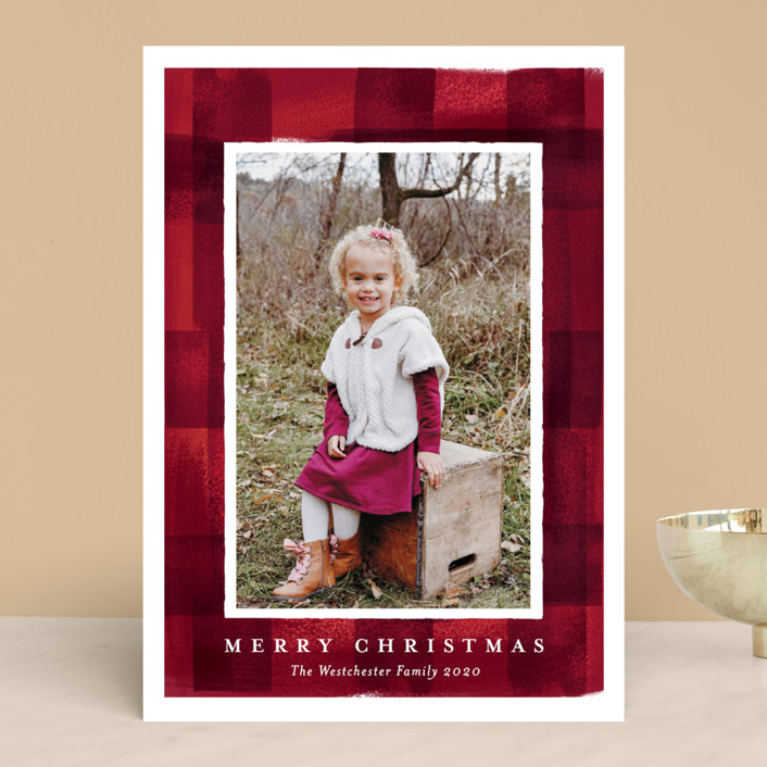 """buffalo check frame"" - Holiday Photo Cards in Poinsettia by Rebecca Durflinger."
