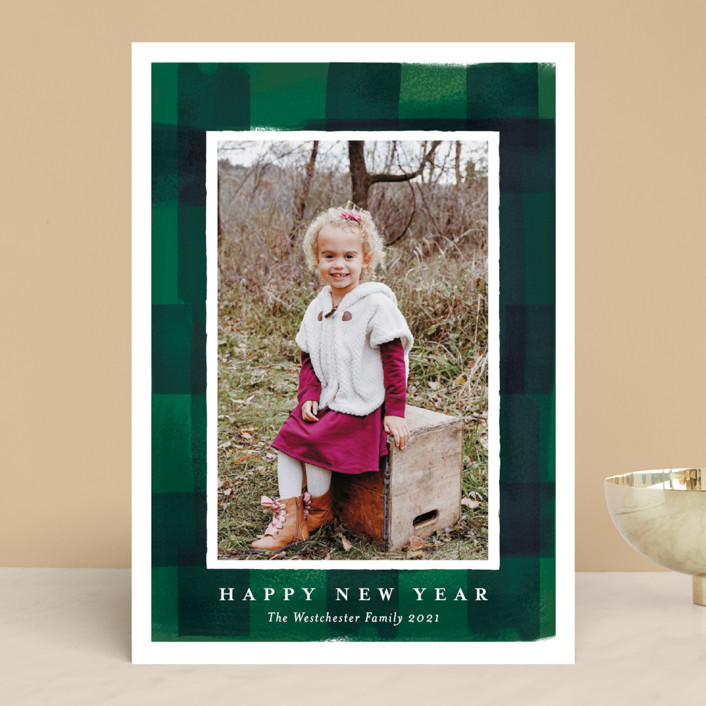 """""""buffalo check frame"""" - Vintage Holiday Photo Cards in Forest by Rebecca Durflinger."""