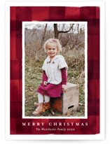 This is a colorful holiday photo card by Rebecca Durflinger called buffalo check frame with standard printing on smooth signature in standard.