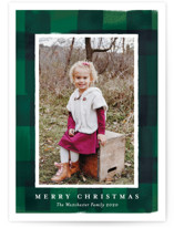 This is a green holiday photo card by Rebecca Durflinger called buffalo check frame with standard printing on smooth signature in standard.