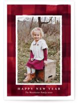 This is a red holiday photo card by Rebecca Durflinger called buffalo check frame with standard printing on smooth signature in standard.