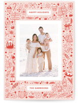 This is a red holiday photo card by Paper Raven Co. called My Favorite Things with standard printing on smooth signature in standard.