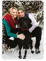 This is a white holiday photo card by Nicole Barreto called Confetti Howlidays with standard printing on smooth signature in standard.