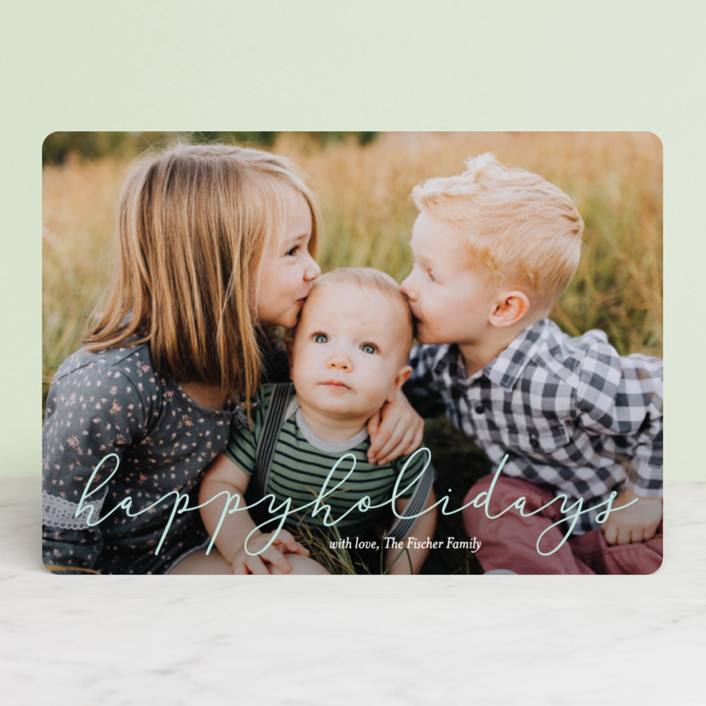 """""""Softly Scripted"""" - Holiday Photo Cards in Glacier by Jessica Williams."""