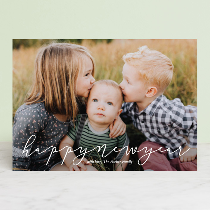 """Softly Scripted"" - Holiday Photo Cards in Snow by Jessica Williams."