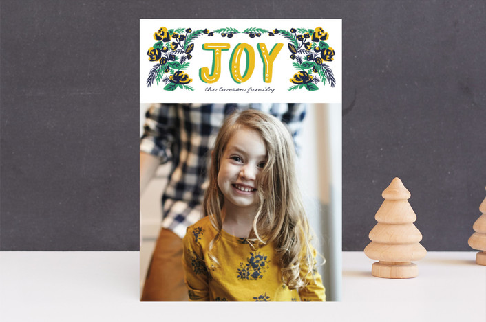 """""""vintage floral joy"""" - Holiday Photo Cards in Candied Lemon by Frooted Design."""