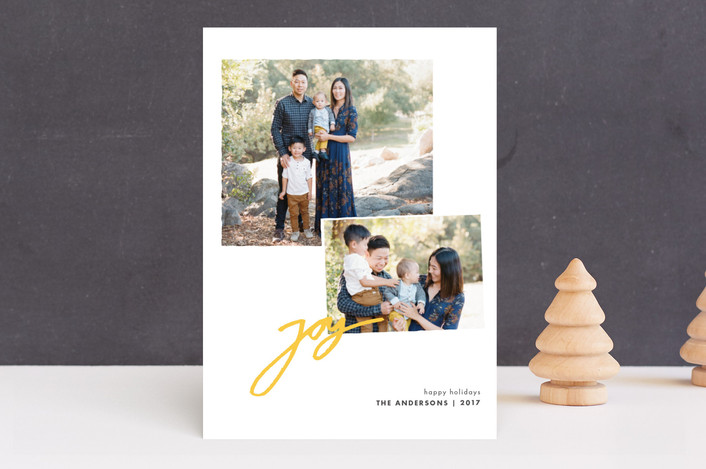"""""""Cheer for Two"""" - Holiday Photo Cards in Soft Yellow by Tyler Tea."""