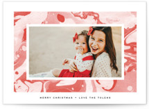 This is a red holiday photo card by Annie Clark called Marbled Peppermint with standard printing on pearlescent in standard.