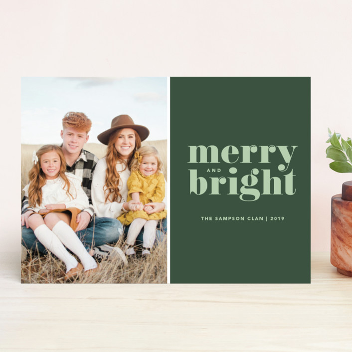 """Cheerful Merry"" - Holiday Photo Cards in Sage by Kristen Smith."