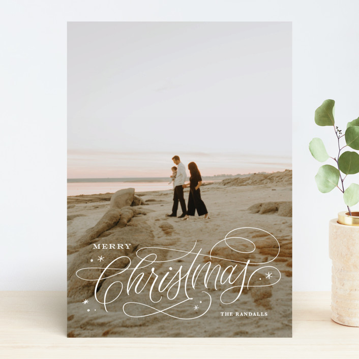 """""""Elegant Script"""" - Holiday Photo Cards in Snowflake by Kristen Smith."""