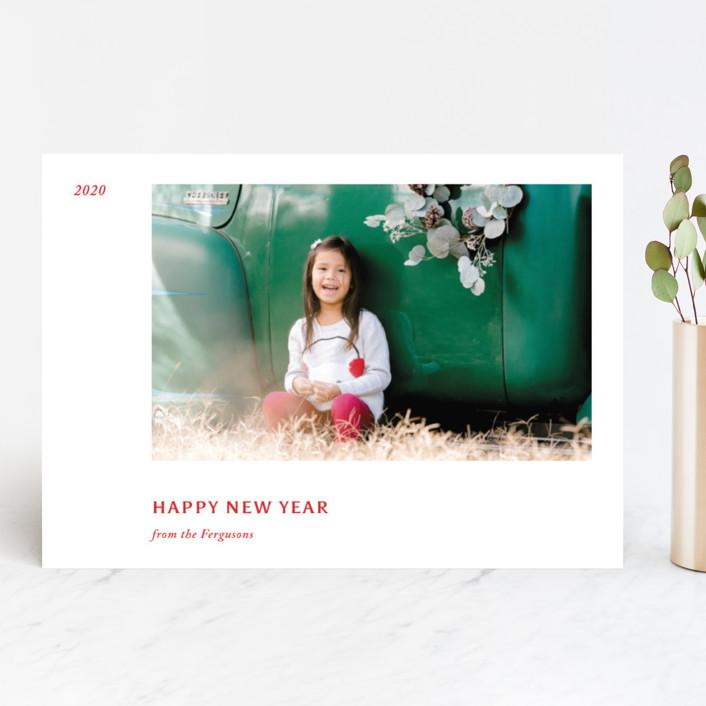 """""""Leaflet"""" - Holiday Photo Cards in Crimson by Jack Knoebber."""