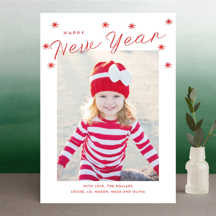 """""""Happy Holidays Stars"""" - Holiday Photo Cards in Cardinal by Erika Firm."""