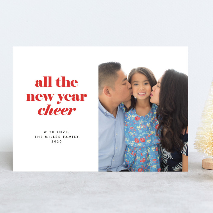 """""""all the happy"""" - Holiday Photo Cards in Cranberry by JoAnn Jinks."""