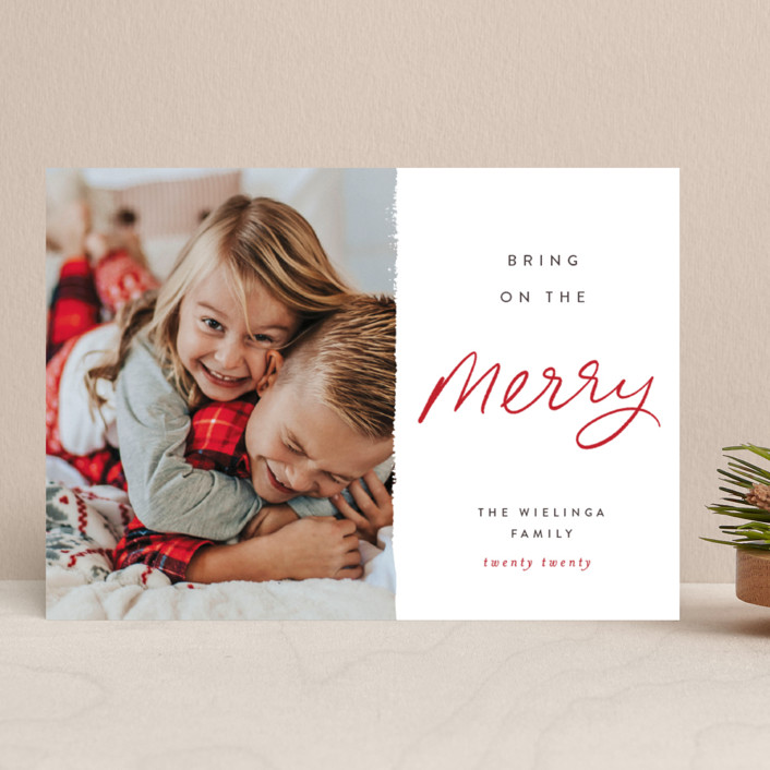 """Be the Merry"" - Holiday Photo Cards in Merry by Pixel and Hank."