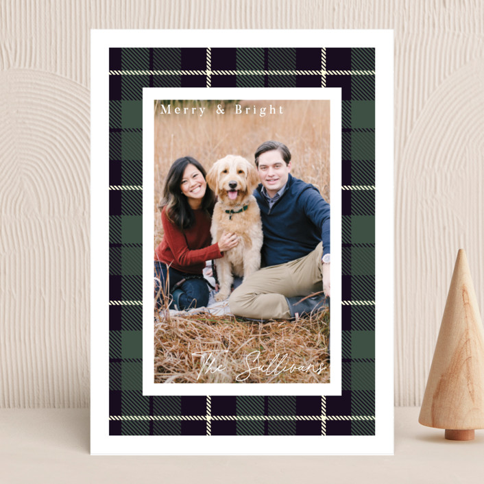 """""""Christmas Plaid"""" - Vintage Holiday Photo Cards in Winter Pine by Hudson Meet Rose."""