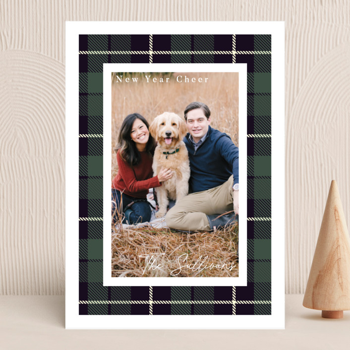 """""""Christmas Plaid"""" - Vintage Holiday Photo Cards in Winter Pine by Caitlin Considine."""
