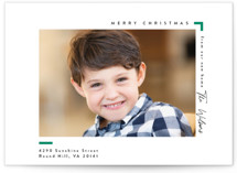 This is a green holiday photo card by Owl and Toad called Moving with standard printing on smooth signature in standard.