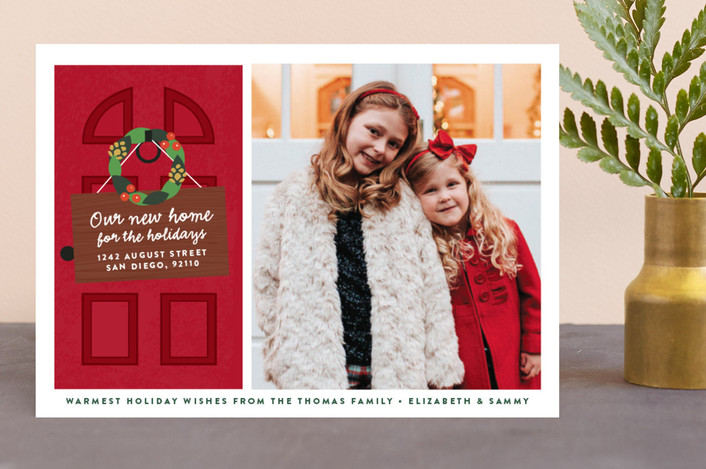 """New Home"" - Holiday Photo Cards in Pomegranate by Erica Krystek."