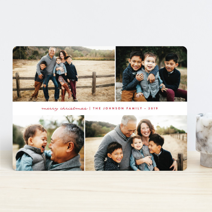 """""""Simple Holiday"""" - Holiday Photo Cards in Candy Cane by peony papeterie."""