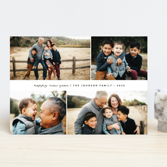 """Simple Holiday"" - Holiday Photo Cards in Licorice by peony papeterie."
