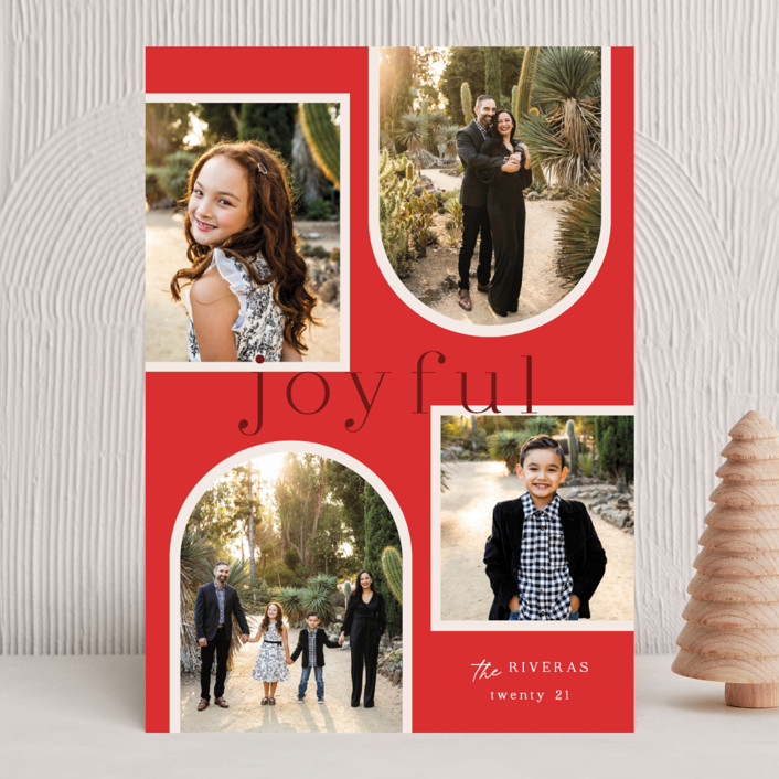 """""""Joy Collage"""" - Holiday Photo Cards in Cherry by Elly."""