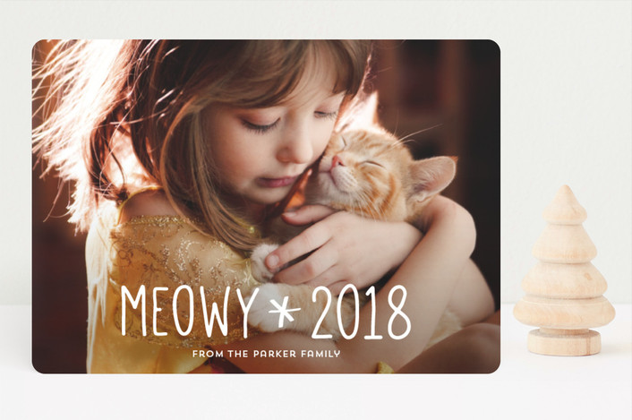 """""""Merry Kittymas"""" - Funny Holiday Photo Cards in Snow by Anupama."""